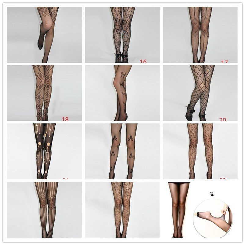 26 kinds Ultra-thin Plus Size Cutout Net Tights Mesh Lace Pantyhose Stockings Black Fishnet Tight