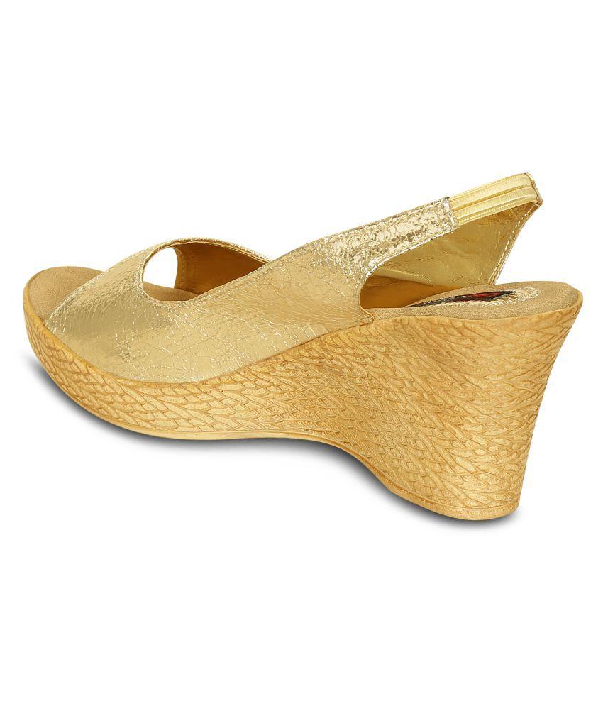261f24ef81 Get Glamr Gold Wedges Heels Price in India- Buy Get Glamr Gold ...