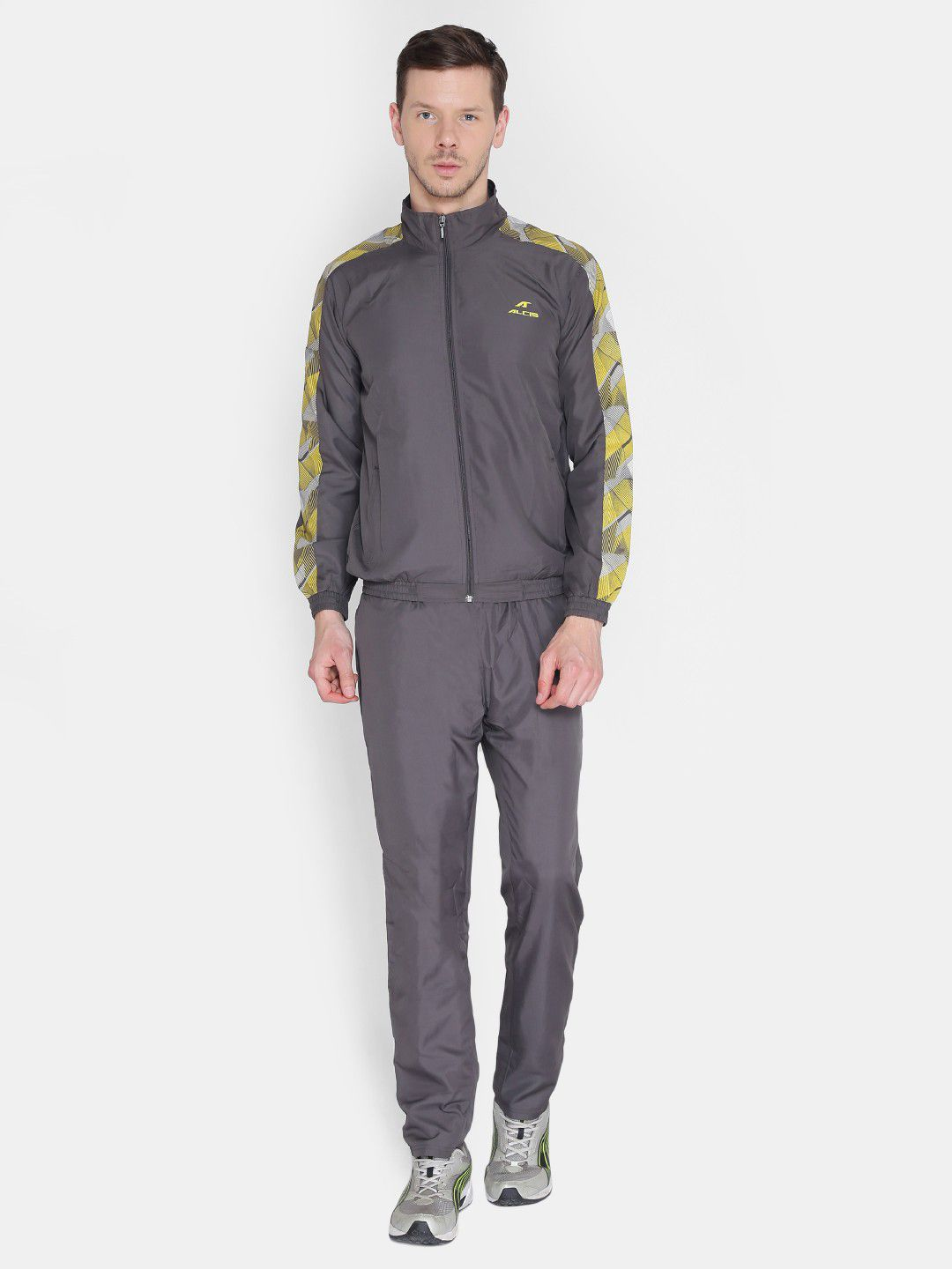 Alcis Mens Printed Grey Tracksuit