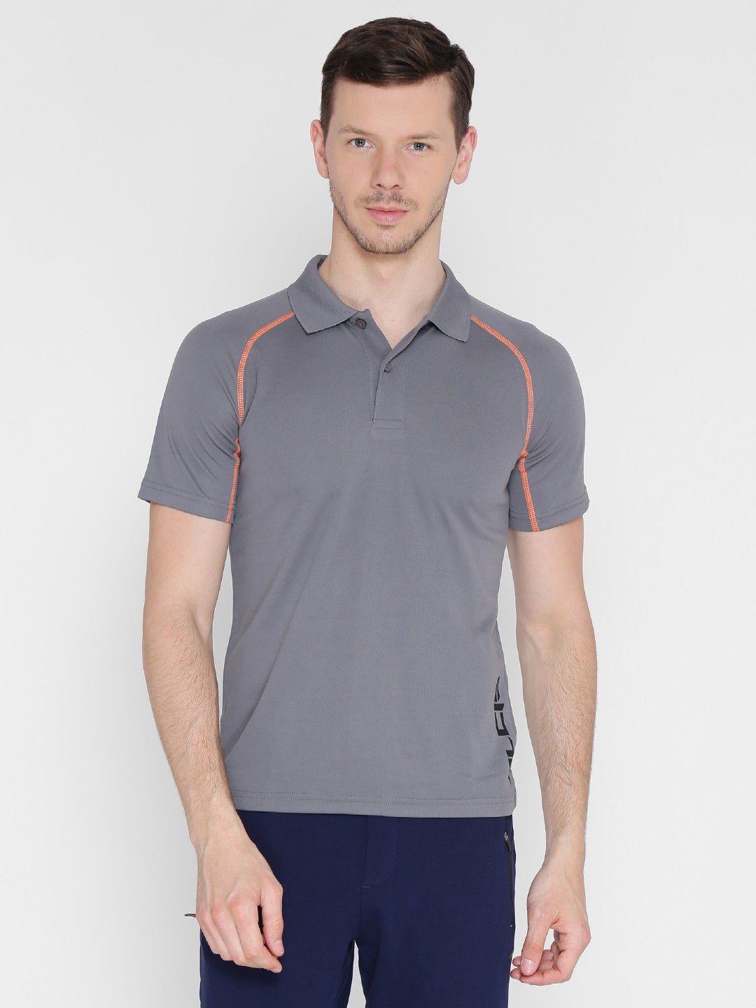Alcis Mens Solid Grey Polo T-Shirt