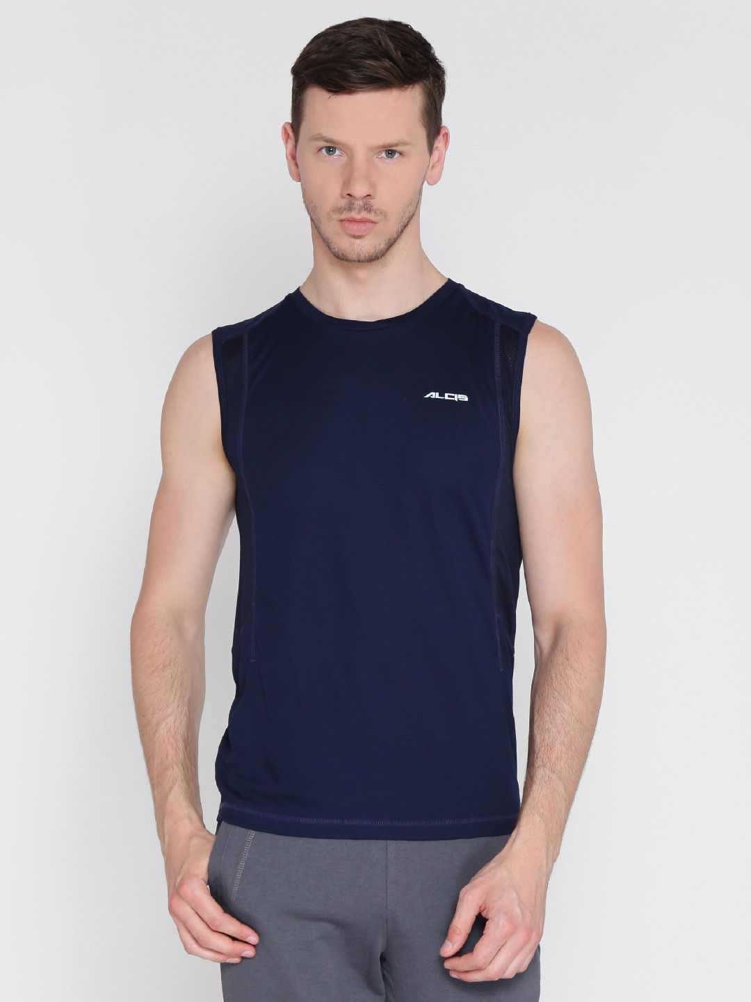 Alcis Mens Solid Navy Blue Running T-Shirt