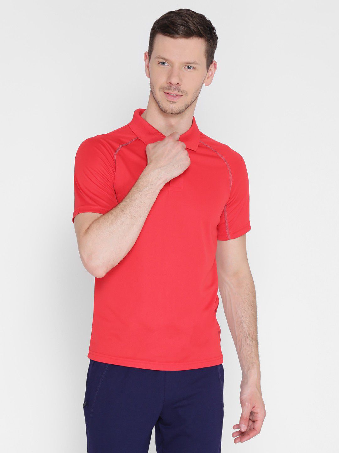 Alcis Mens Solid Red Polo T-Shirt