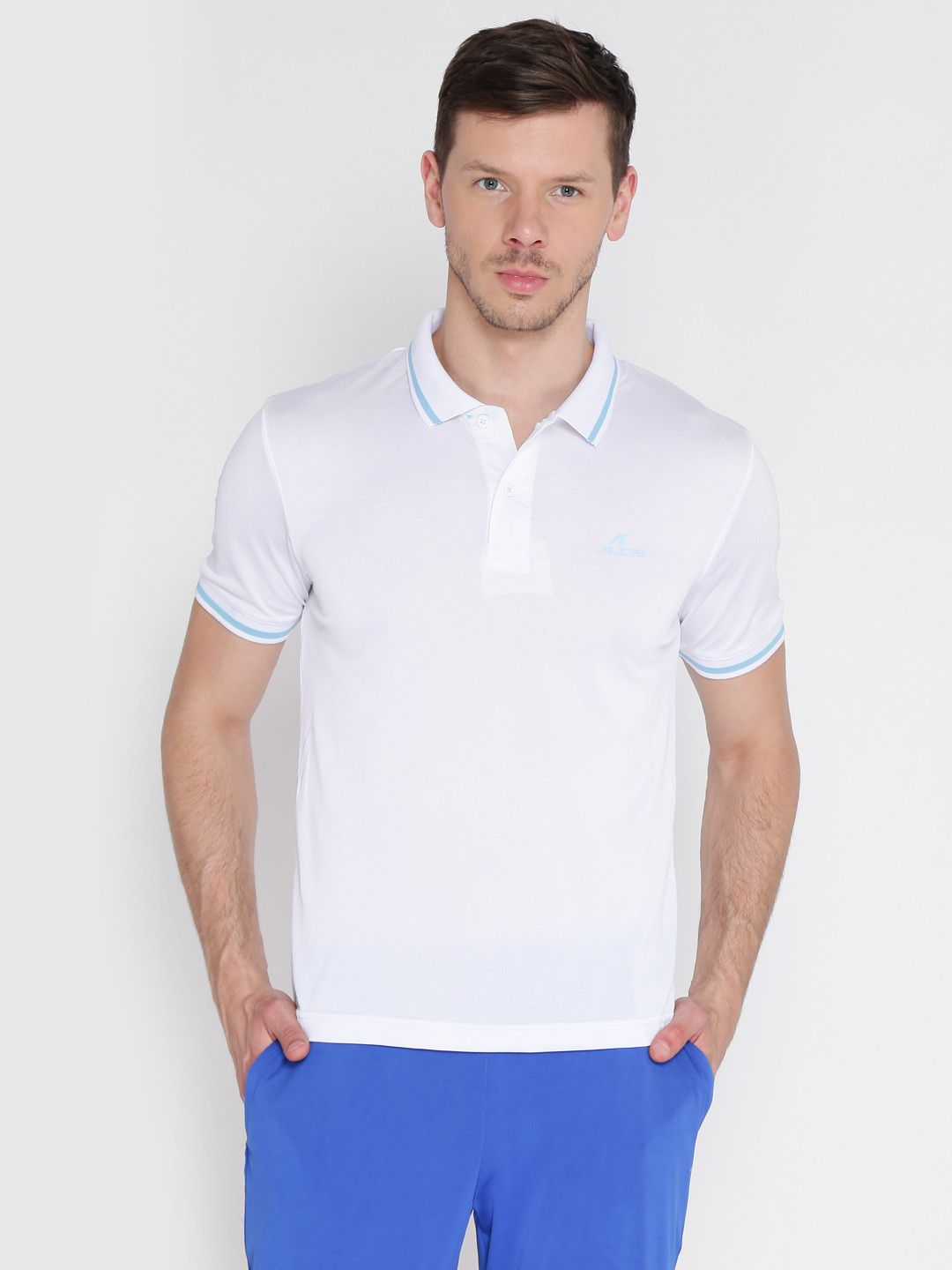 Alcis Mens Solid White Polo T-Shirt
