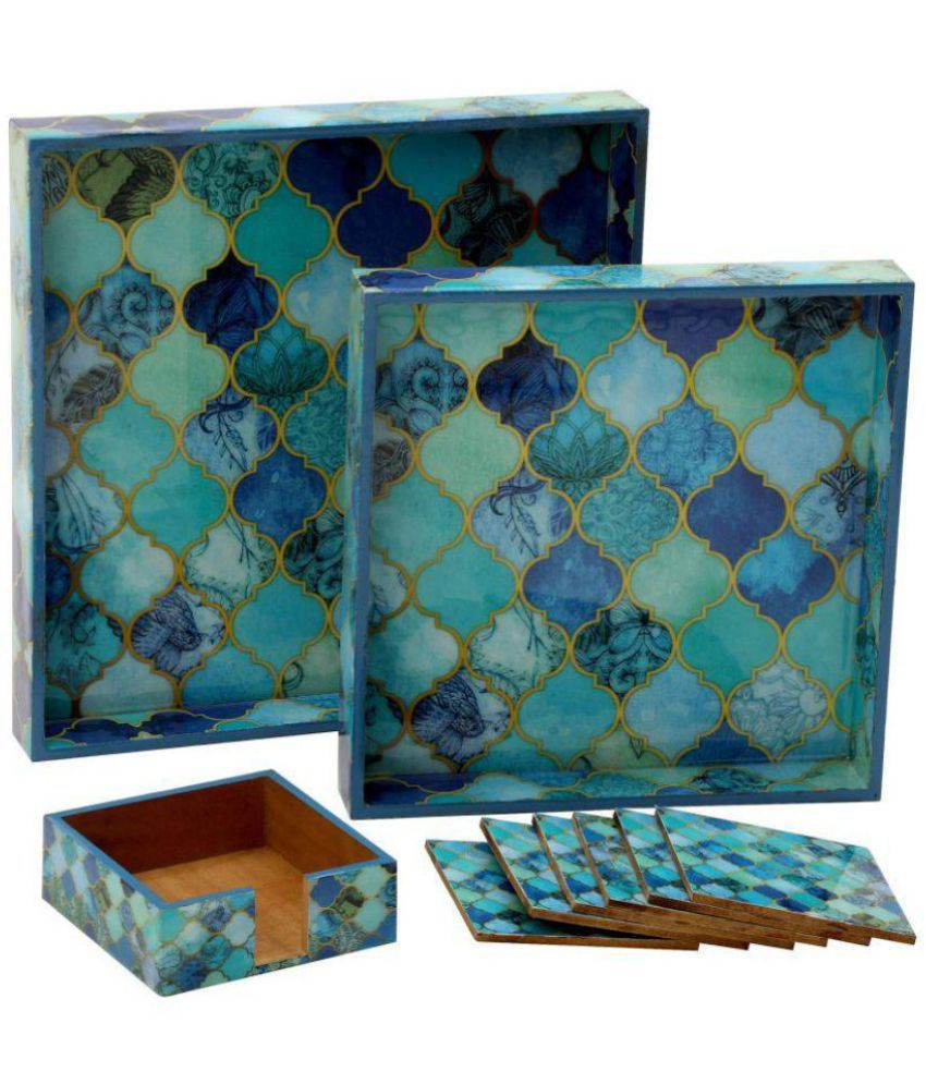 Kolorfish Designer Wooden Two Pieces Serving Trays Set & Six Pieces ...