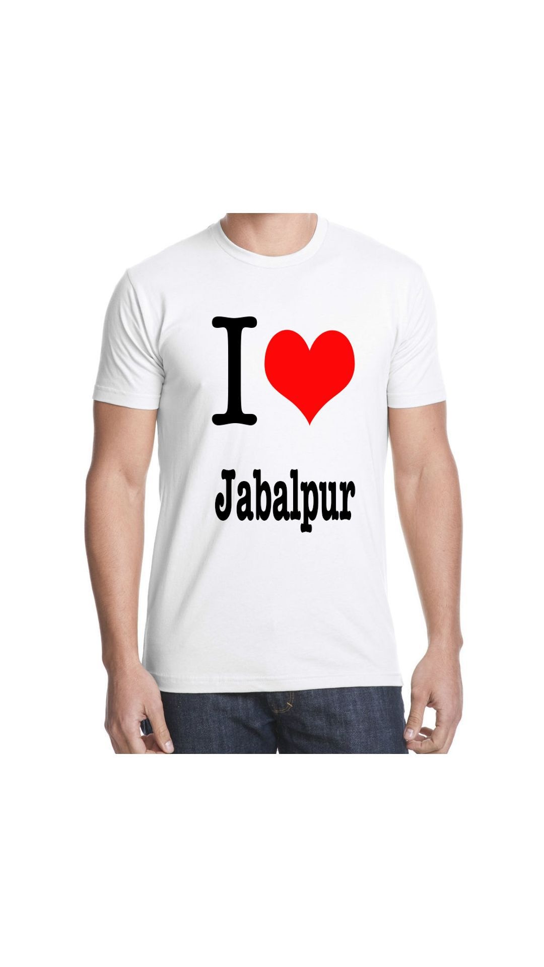 Ritzees Unisex Half Sleeve Dry Fit White Polyester T-Shirt on I Love Jabalpur , Size-L