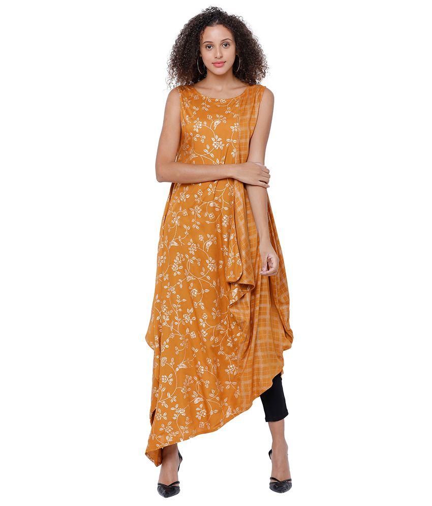 Vishudh Yellow Rayon A-line Kurti