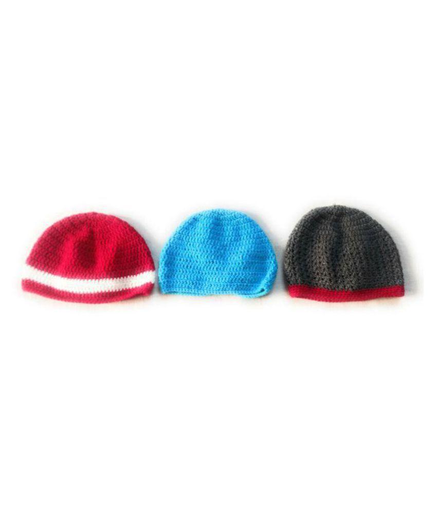 ... New Jain Traders - Combo of 3 Hand Made Crochet Woolen Designer Caps  for Baby Boys ec3de4db0a4b