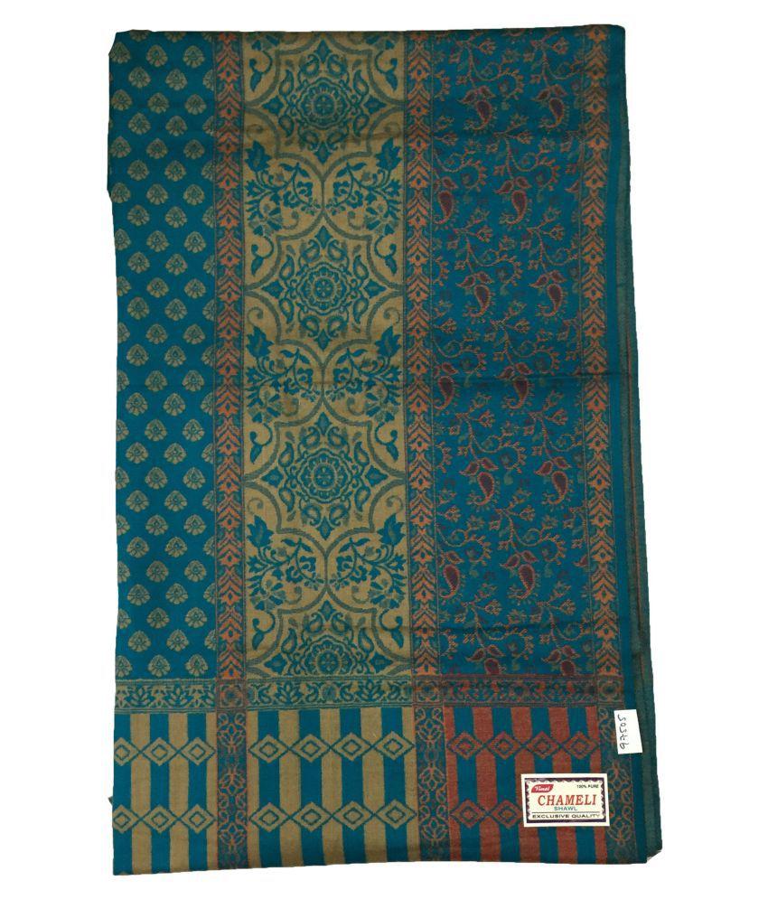 kashmiri shawls Blue Loom-Woven Shawl