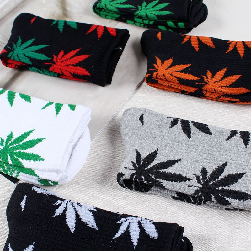 1Pair Women/Men Marijuana Long Cotton Maple Leaf Sport Socks Ankle Sock