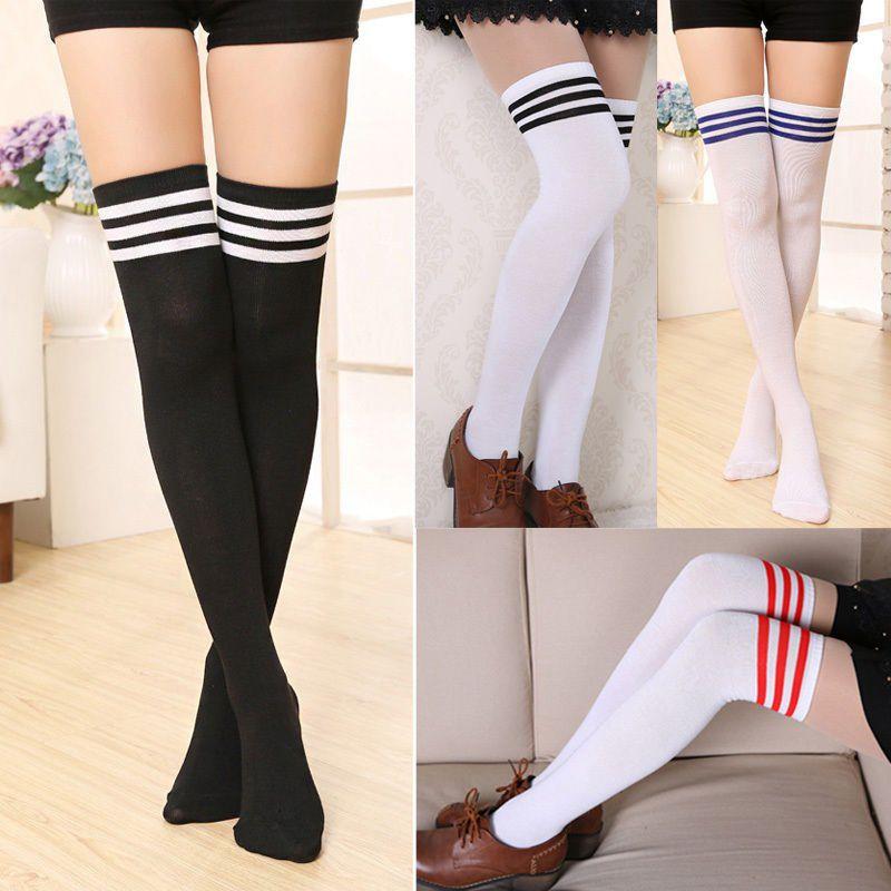 Over The Knee Thigh High Cotton Socks Stockings Leggings Women Ladies Girls GL
