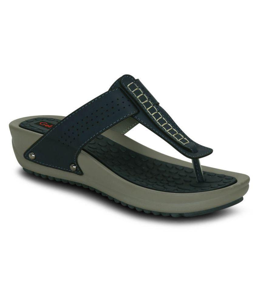 Get Glamr Navy Wedges Heels