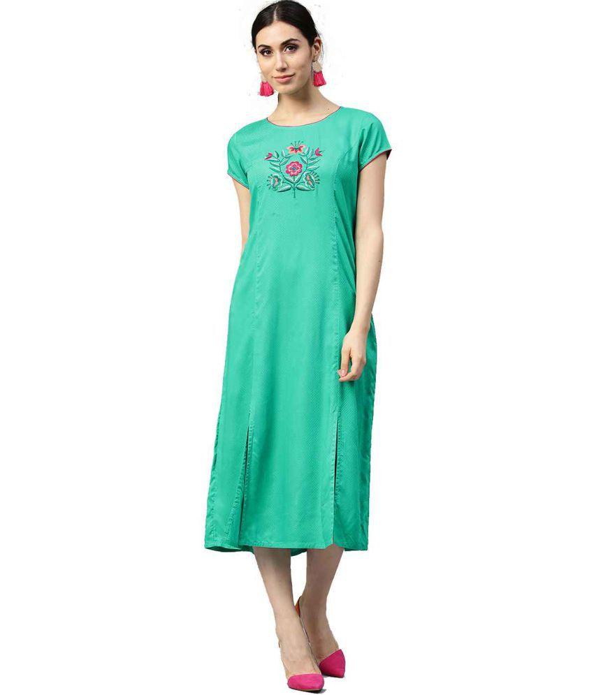 Jaipur Kurti Viscose Blue Dresses