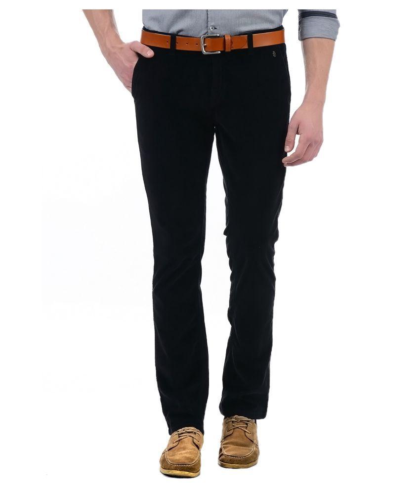 London Fog Black Regular -Fit Flat Trousers
