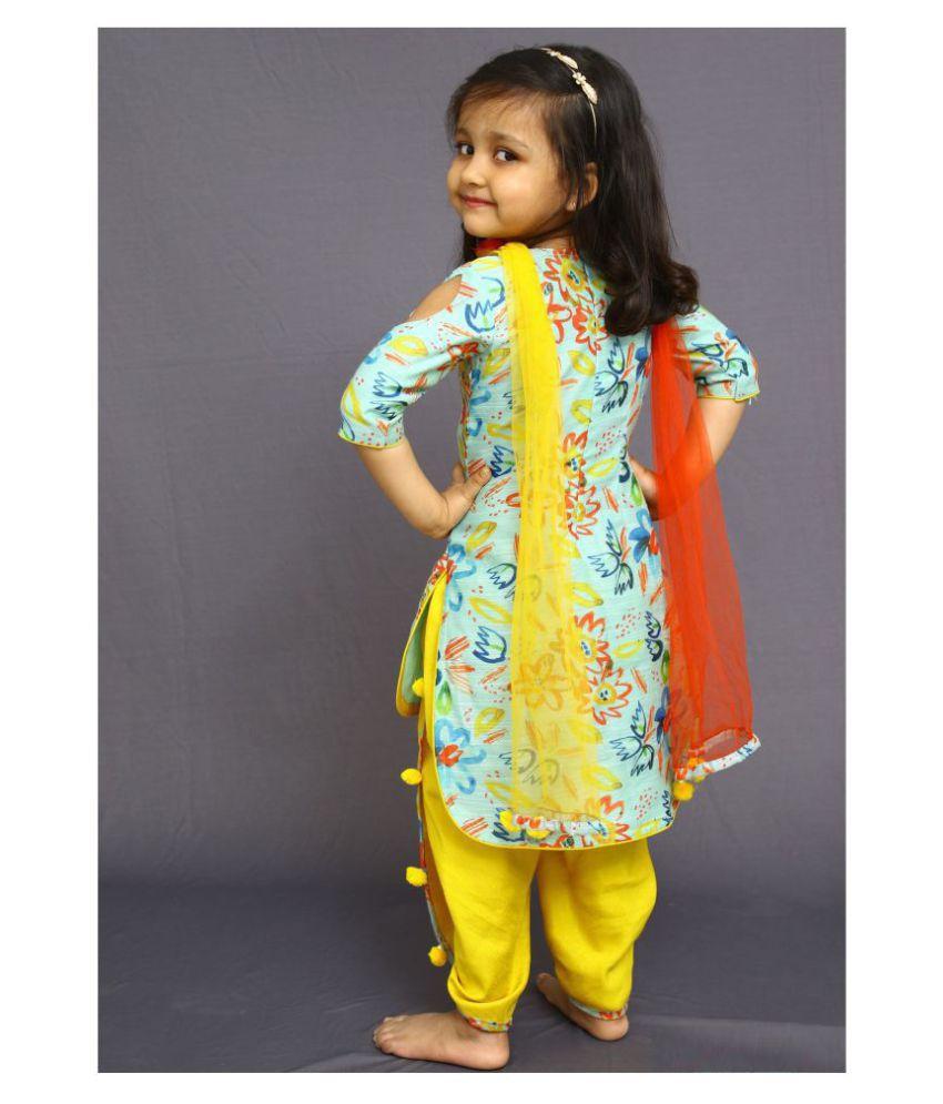 White Button New Designer Cute Partywear Salwar Suit For Girls