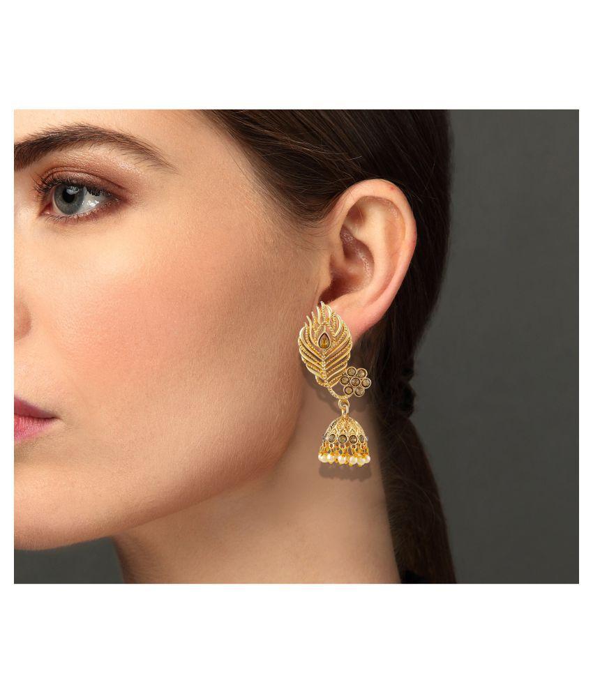 Asmitta Modern Lct Stone Gold Plated Jhumki Earring For Women