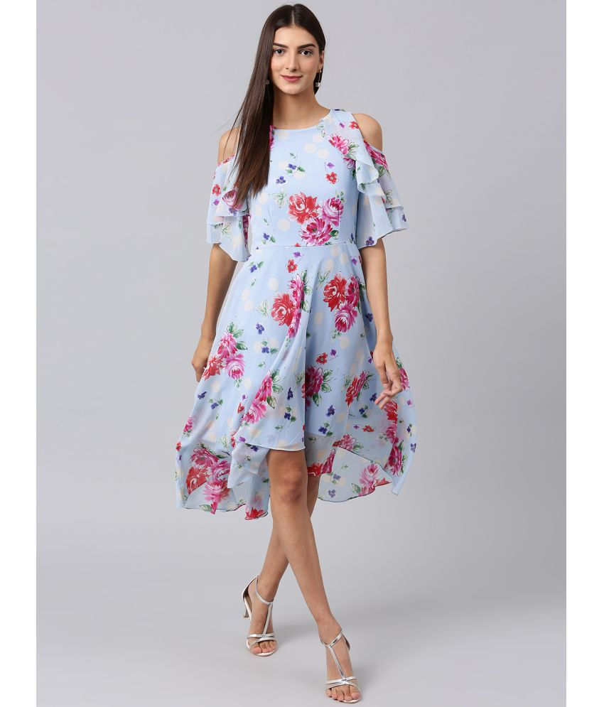Athena Polyester Blue Fit And Flare Dress Buy Athena