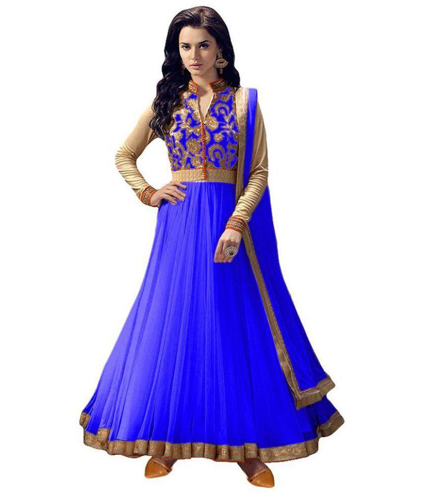 THE 9192 Blue and Purple Net Anarkali Semi-Stitched Suit