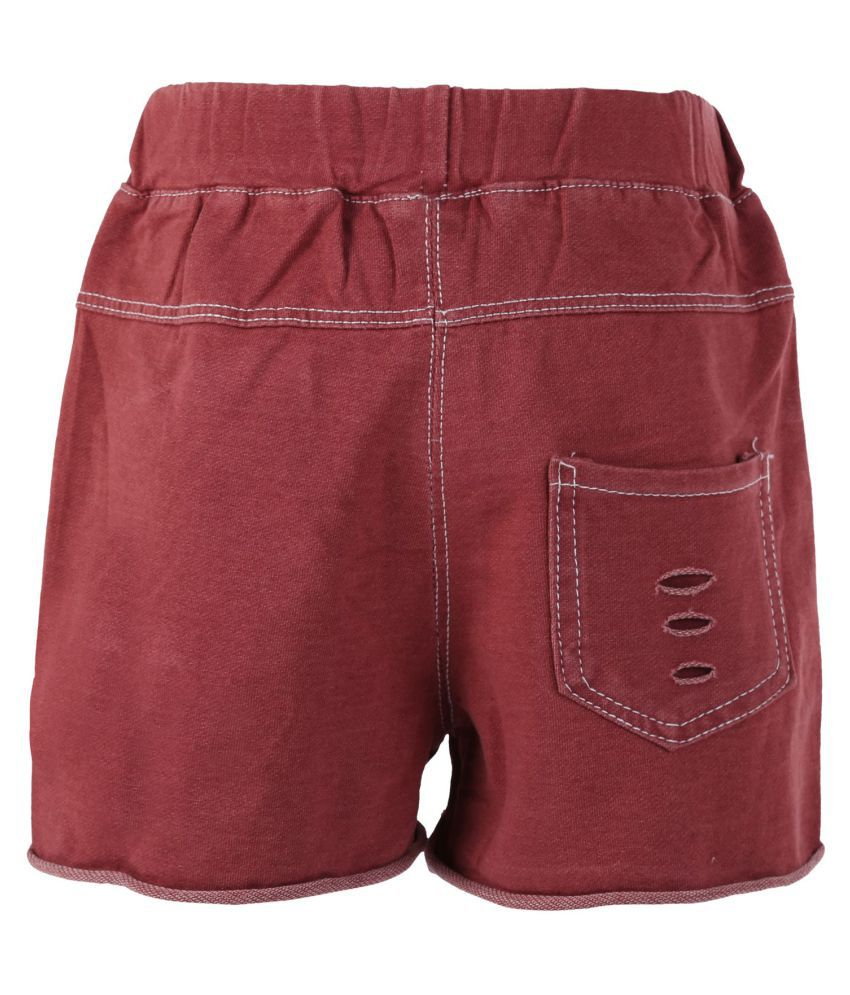 Blisara Girls Jeans Style Pattern Maroon Short Pant (Size Suitable for 3 to 4 years)