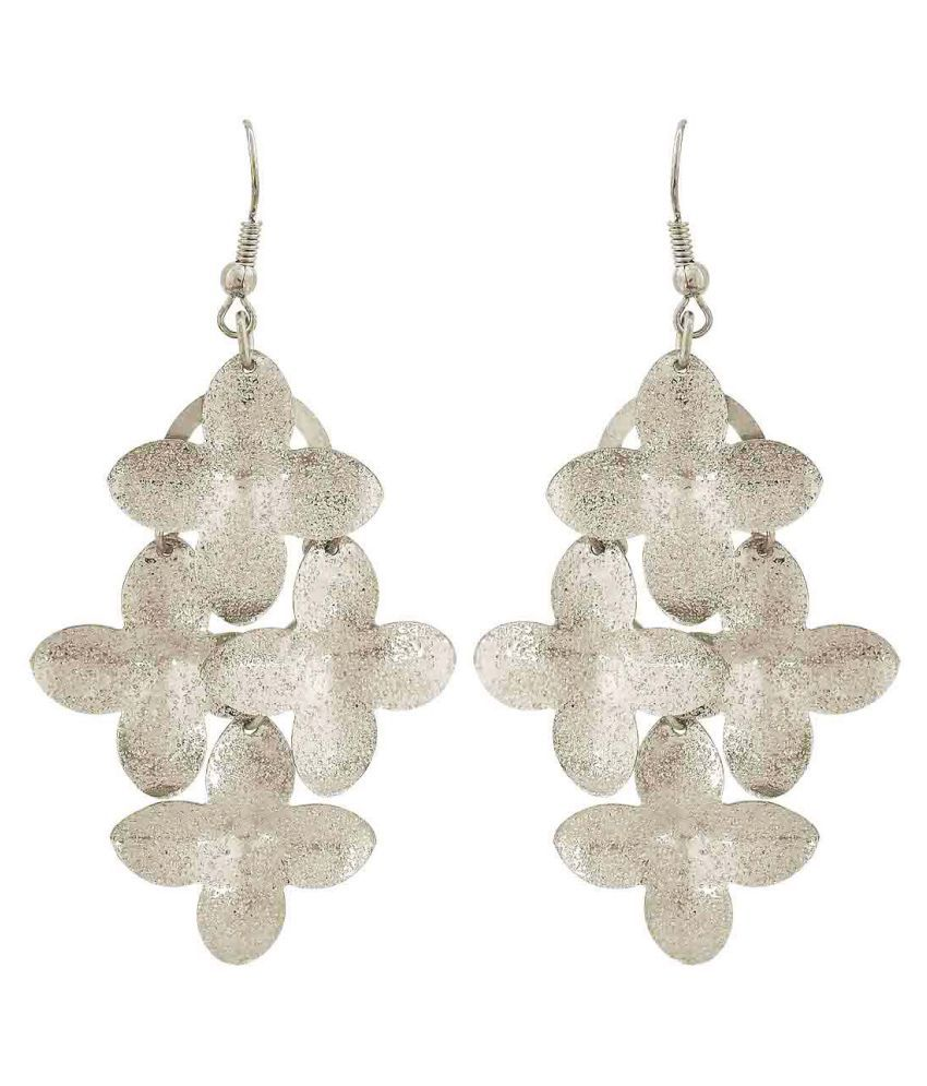 Maayra Cocktail Flower Earrings Silver Dangler Drop College Fashion Earrings