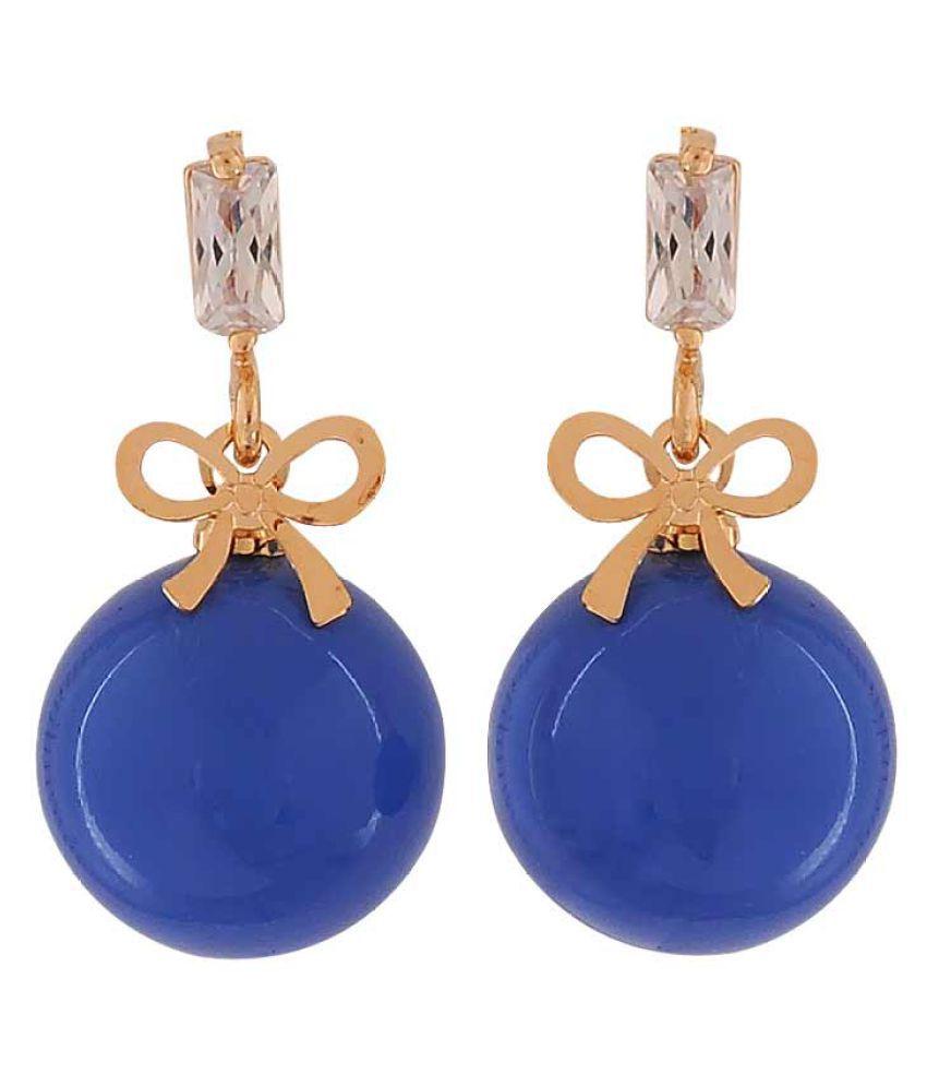 Maayra Pearl Bow Earrings Blue Dangler Drop Office Casualwear Earrings