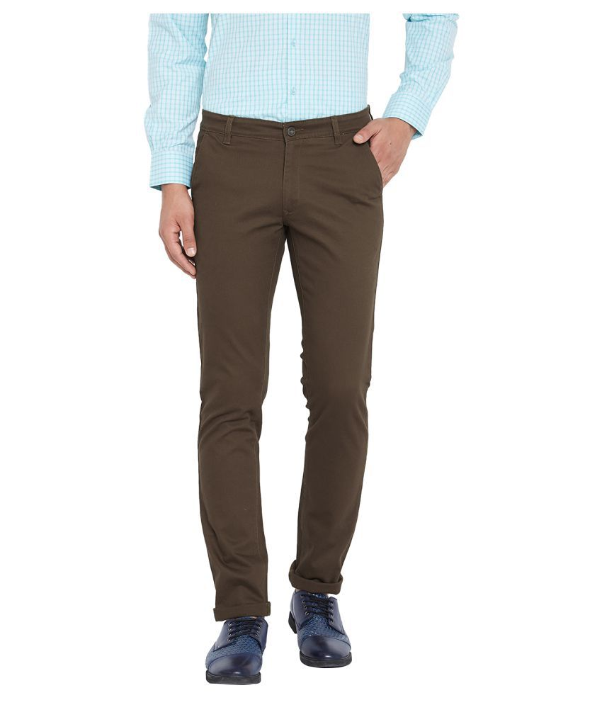 Canary London Brown Slim -Fit Flat Chinos