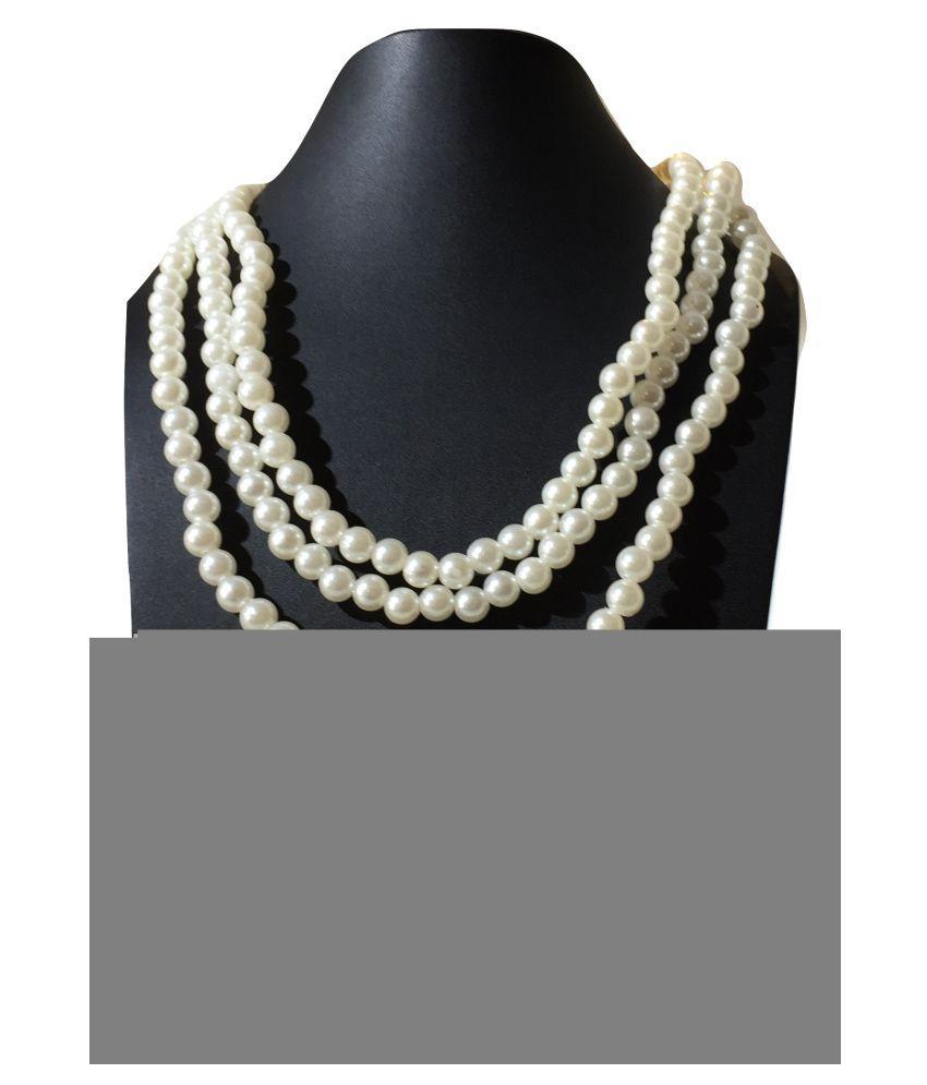 Semi Precious Pearl Stone Three Strands Necklace Equisite Unisex Jewellery
