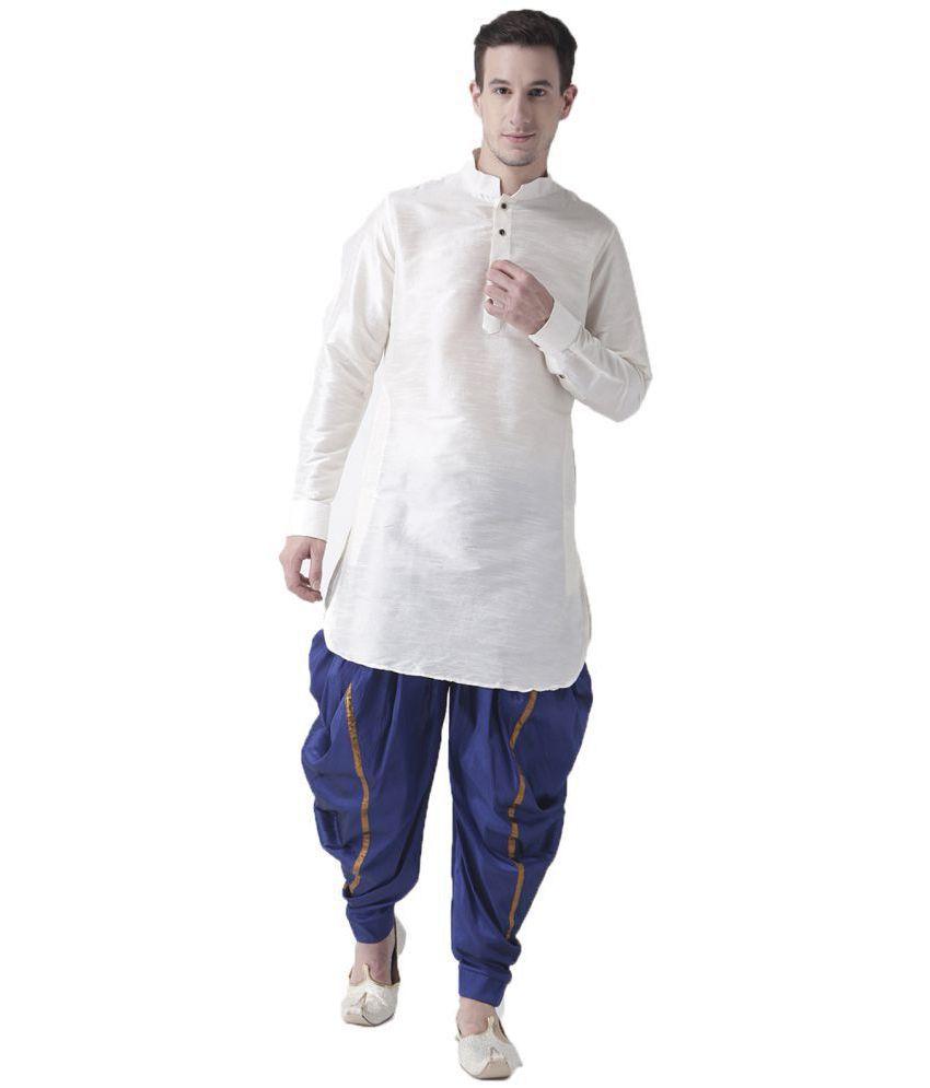 Deyann White Silk Blend Dhoti Kurta Set
