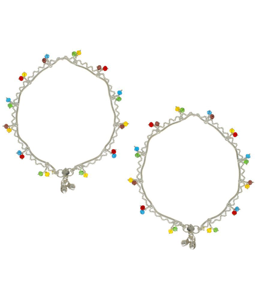 Anuradha Art Silver Colour Styled With Multi Colour Beads Droplets Anklet/Payal For Women/Girls
