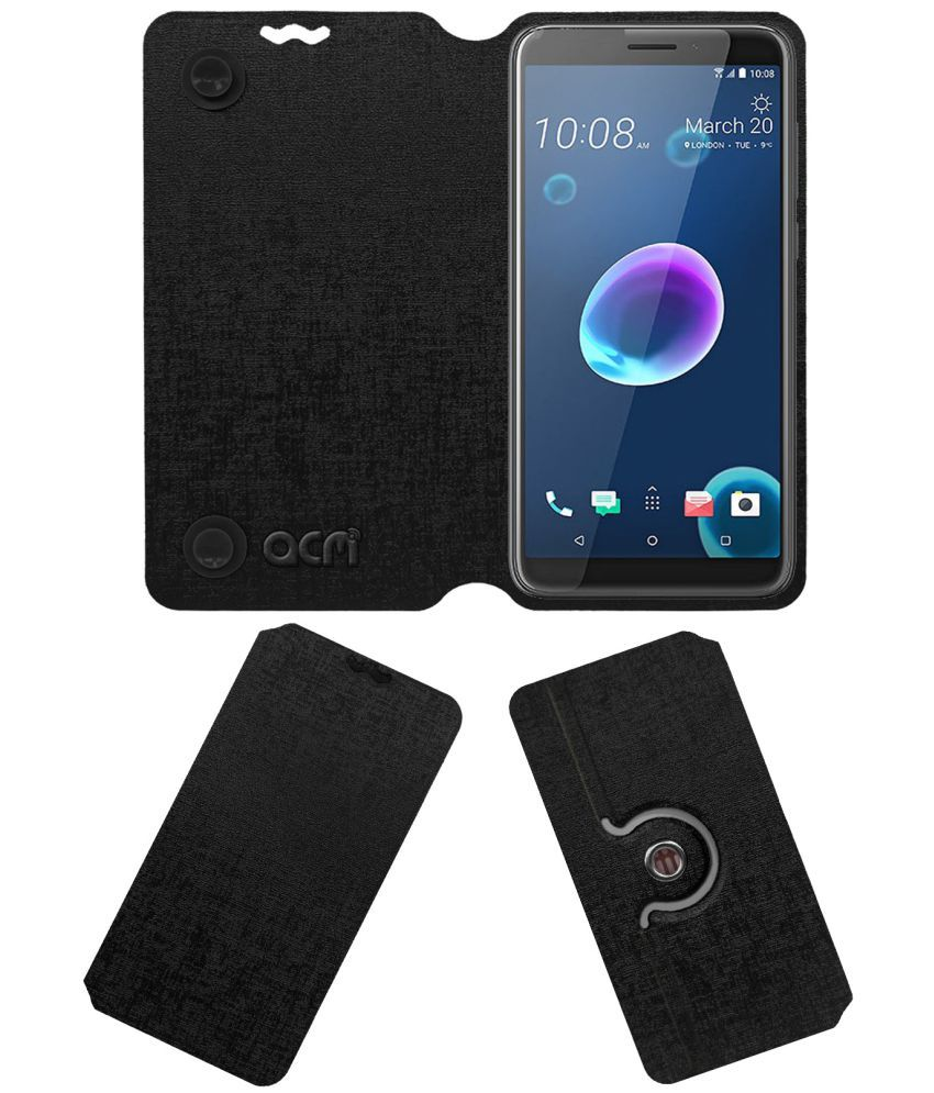 meet c9858 8478a HTC Desire 12 Flip Cover by ACM - Black Dual Side Stand
