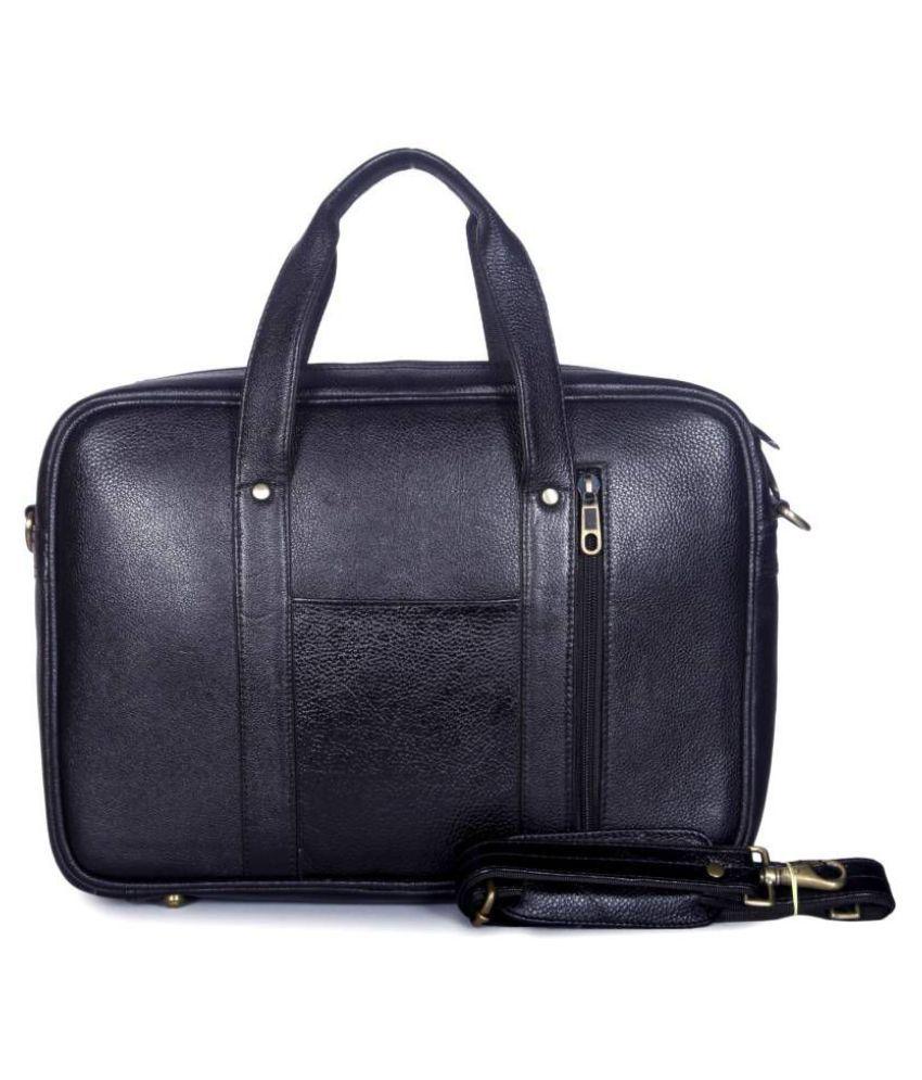 PhD Black Leather Office Messenger Bag