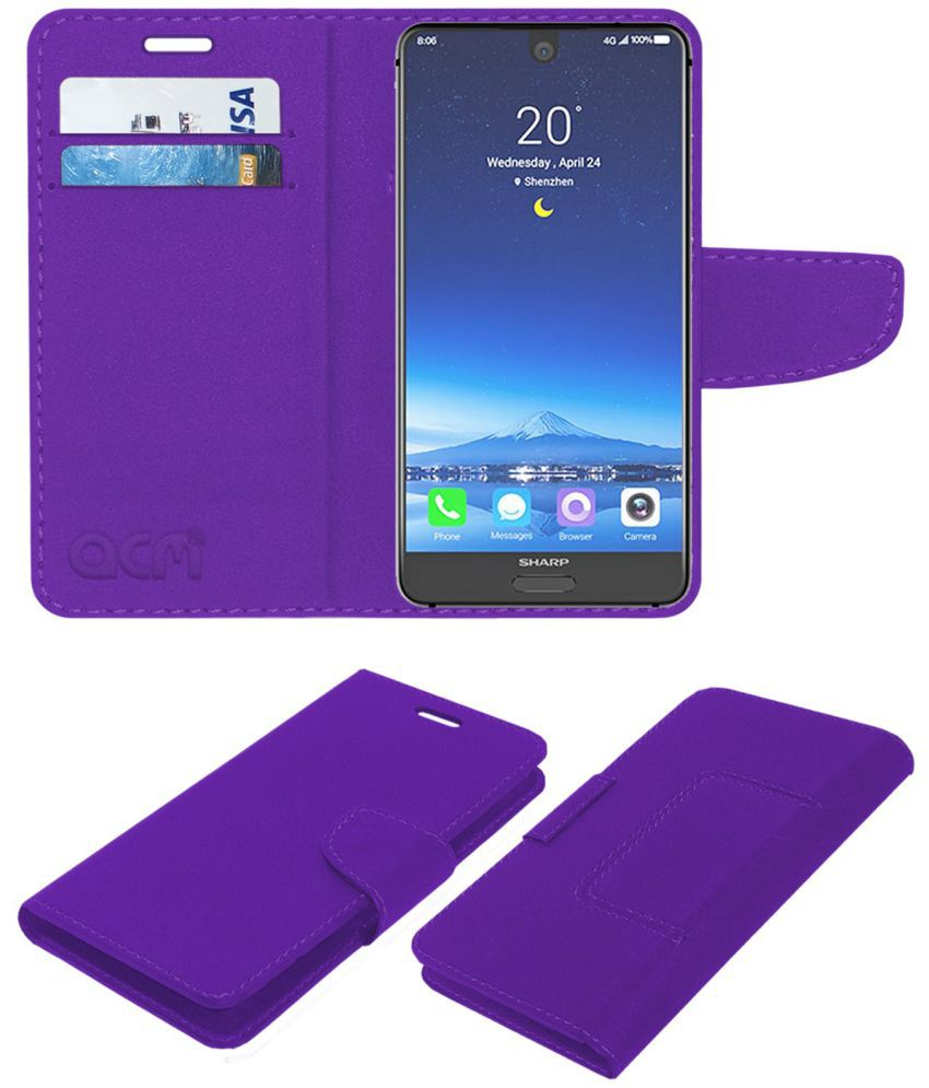 Sharp Aquos S2 Flip Cover by ACM - Purple Wallet Case,Can store 2 Card/Cash