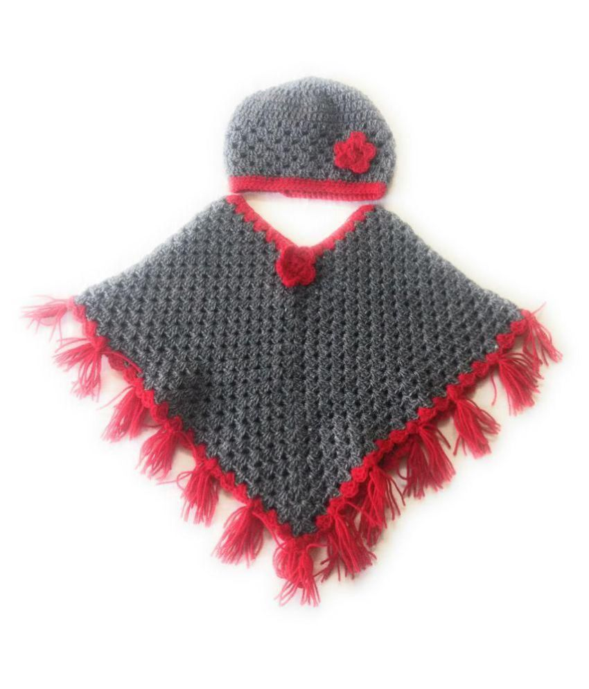 New Jain Traders - Combo of Hand Made Crochet Woolen Designer Poncho   Cap  for Baby Girls (6-12 Months 47d61e6e13ea