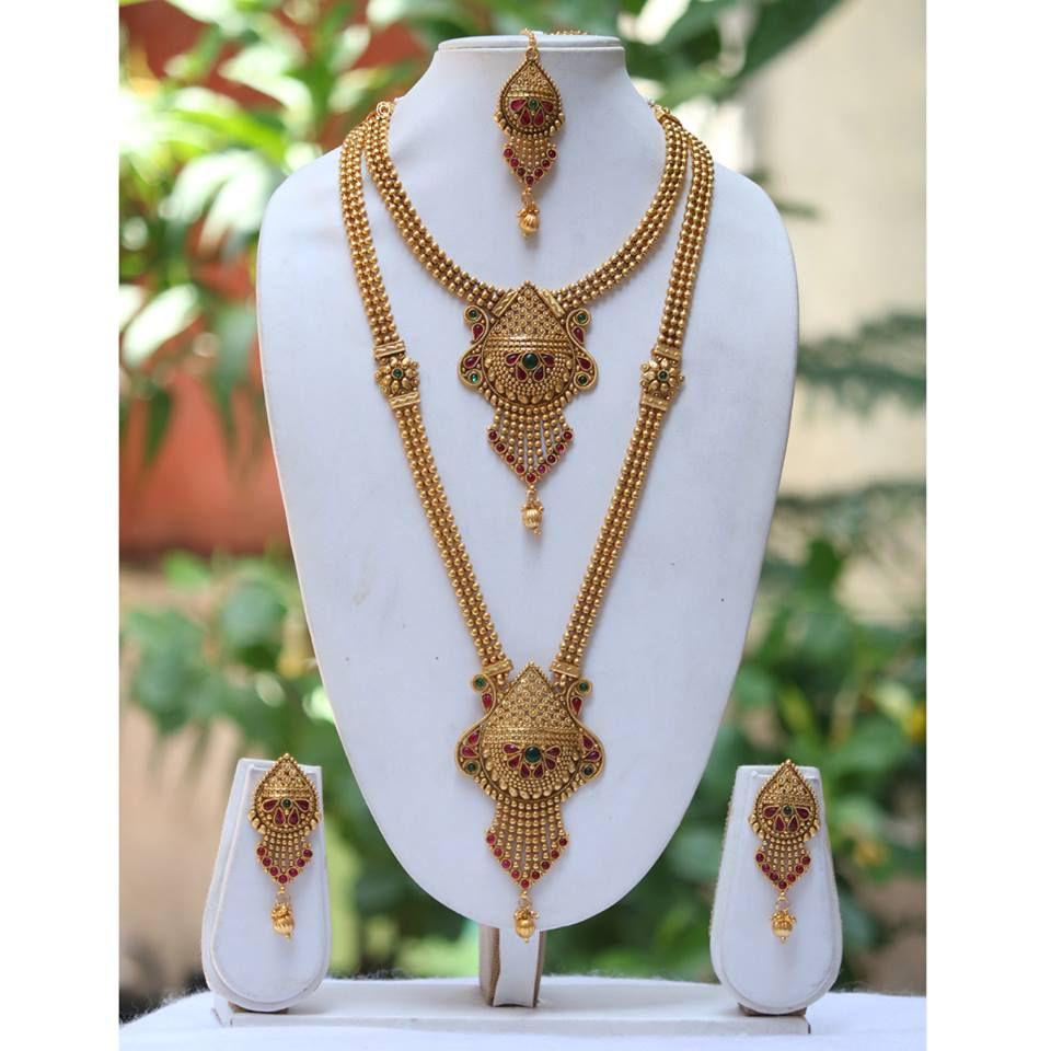 Antique Gold N Jadtar Set: Swarajshop 14 Kt Antique Look Gold Plated Long Haram