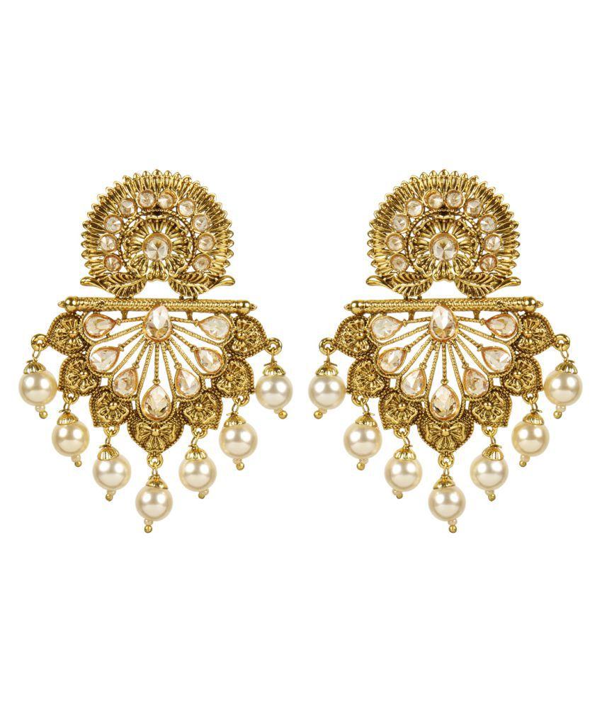 MUCH MORE Ethnic Gold Tone Polki Earrings Patywear Jewellery For Women's