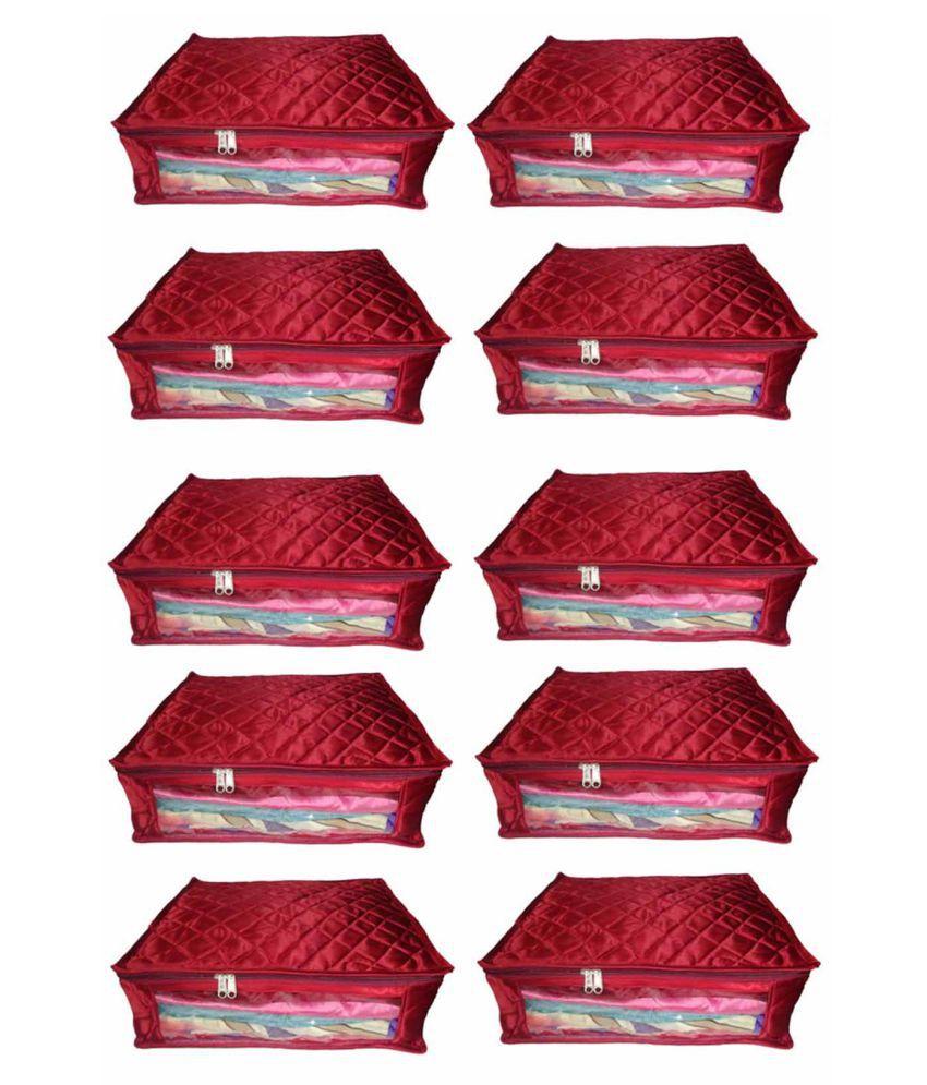 ultimatefashionista Maroon Saree Covers - 10 Pcs