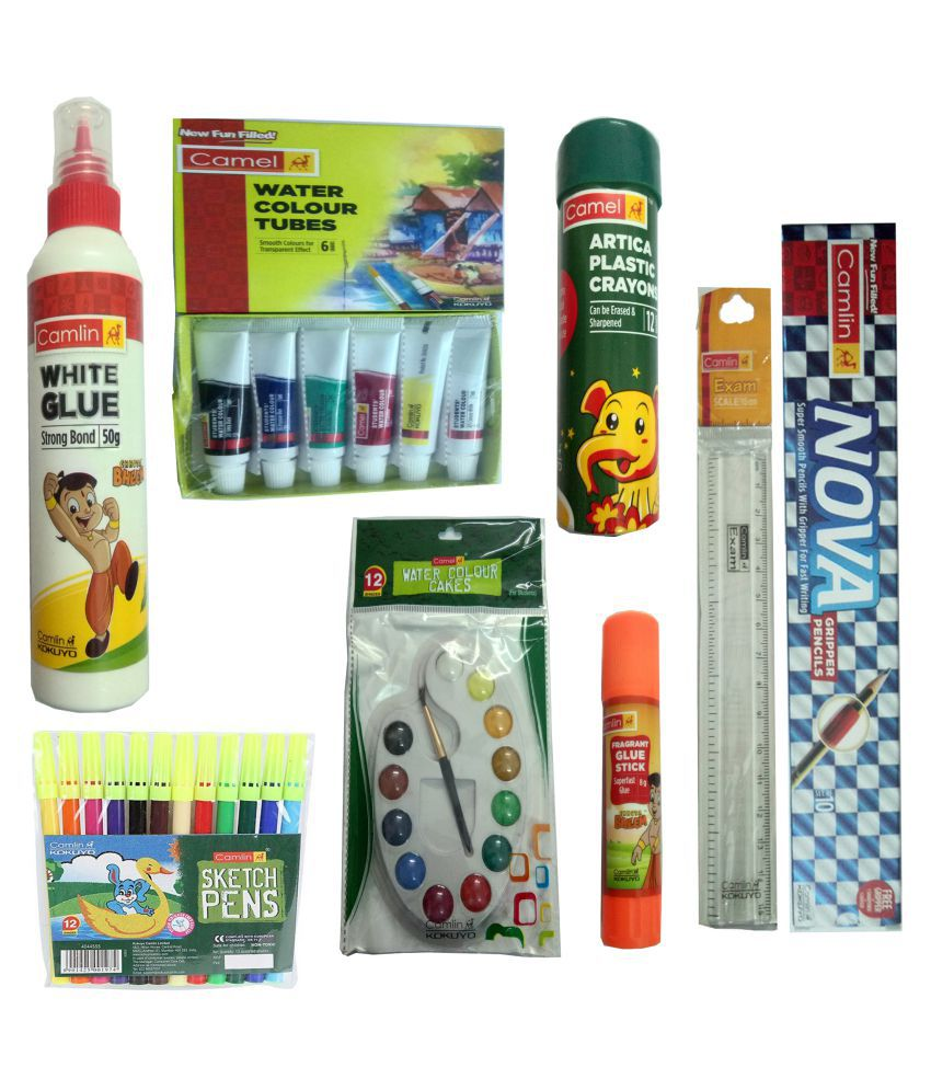CAMLIN NOVA GRIPPER PENCIL+CAMLIN ARTICA EXTRA LONG PLASTIC CRAYONS (CAN BE ERASED &SHARPENED)+CAMLIN WATER COLOUR TUBES (6 SHADES)+CAMLIN EXAM SCALE 15 CM+CAMLIN SKETCH PEN (12 SHADES) +CAMLIN WATER COLOUR CAKES (12 SHADES)+GLUE STICK+WHITE GLUE 50GM