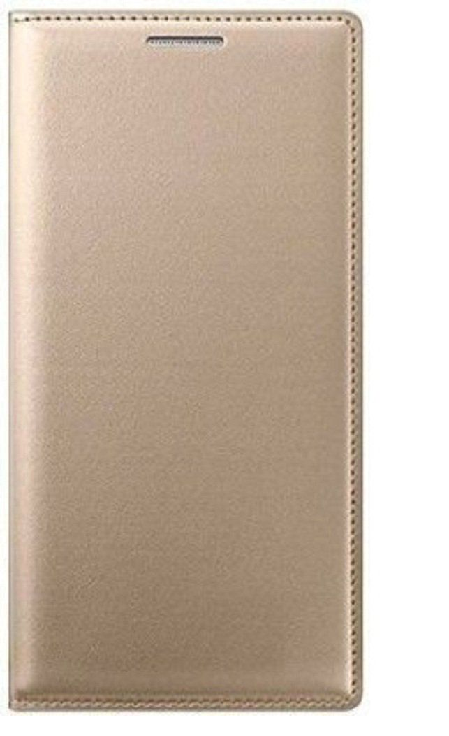 Lyf Flame 3 Flip Cover by Shanice - Golden Leather Flip Case Cover