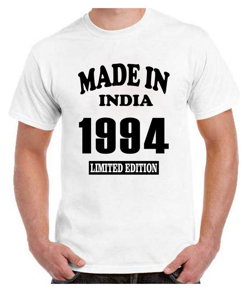 RITZEES White Dry Fit Polyester Birthday Tshirt on Made in India 1994 -XXL