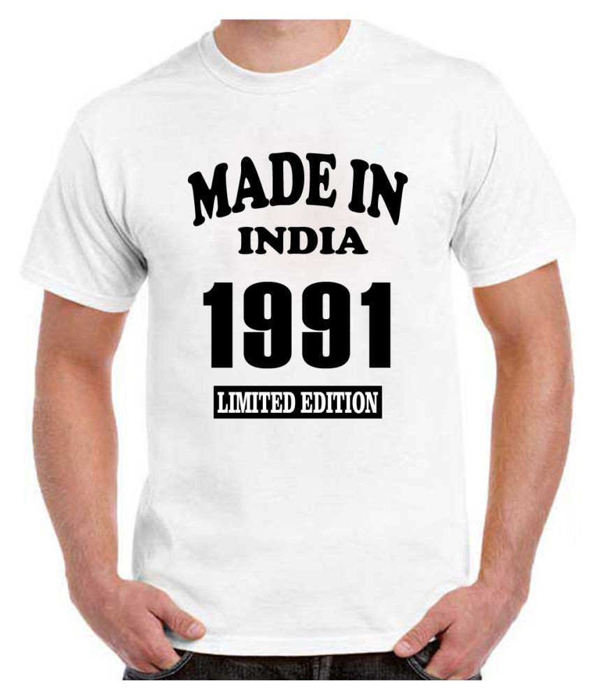 RITZEES White Dry Fit Polyester Birthday Tshirt on Made in India 1991 -XL