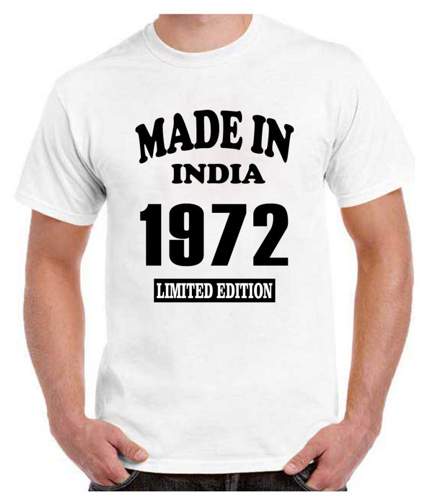 RITZEES White Dry Fit Polyester Birthday Tshirt on Made in India 1972 -XXL