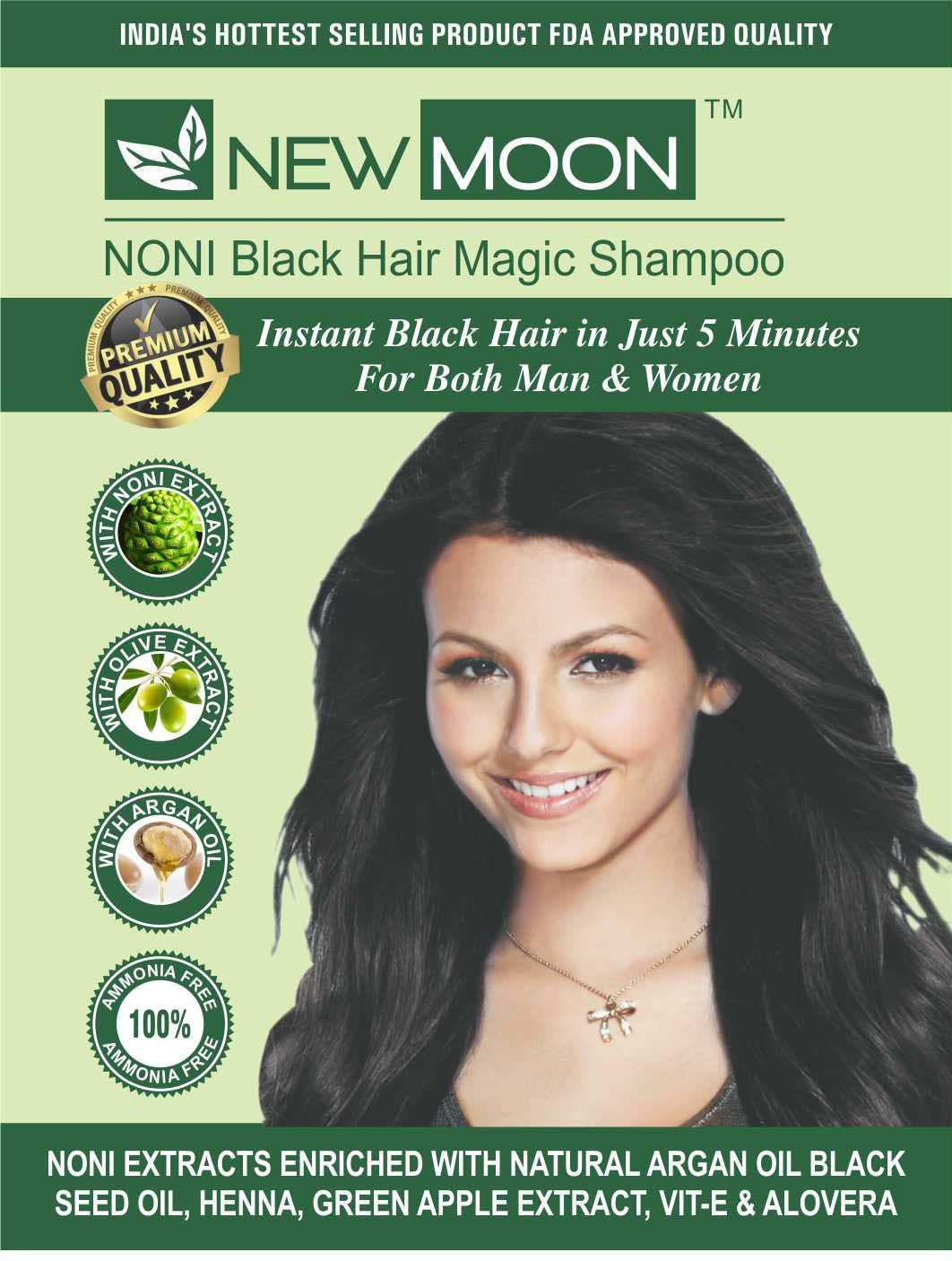New Moon hair dye black natural Permanent Hair Color Black 30 ml Pack of 10