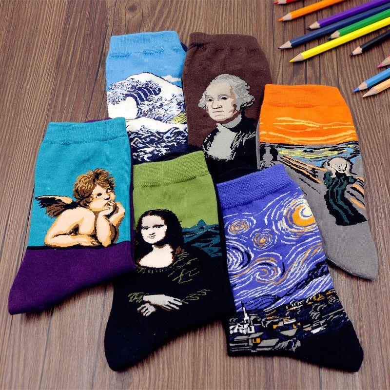 Lover-Beauty New Westen Cotton Unisex Men Women Socks Painting Stockings Night Socks