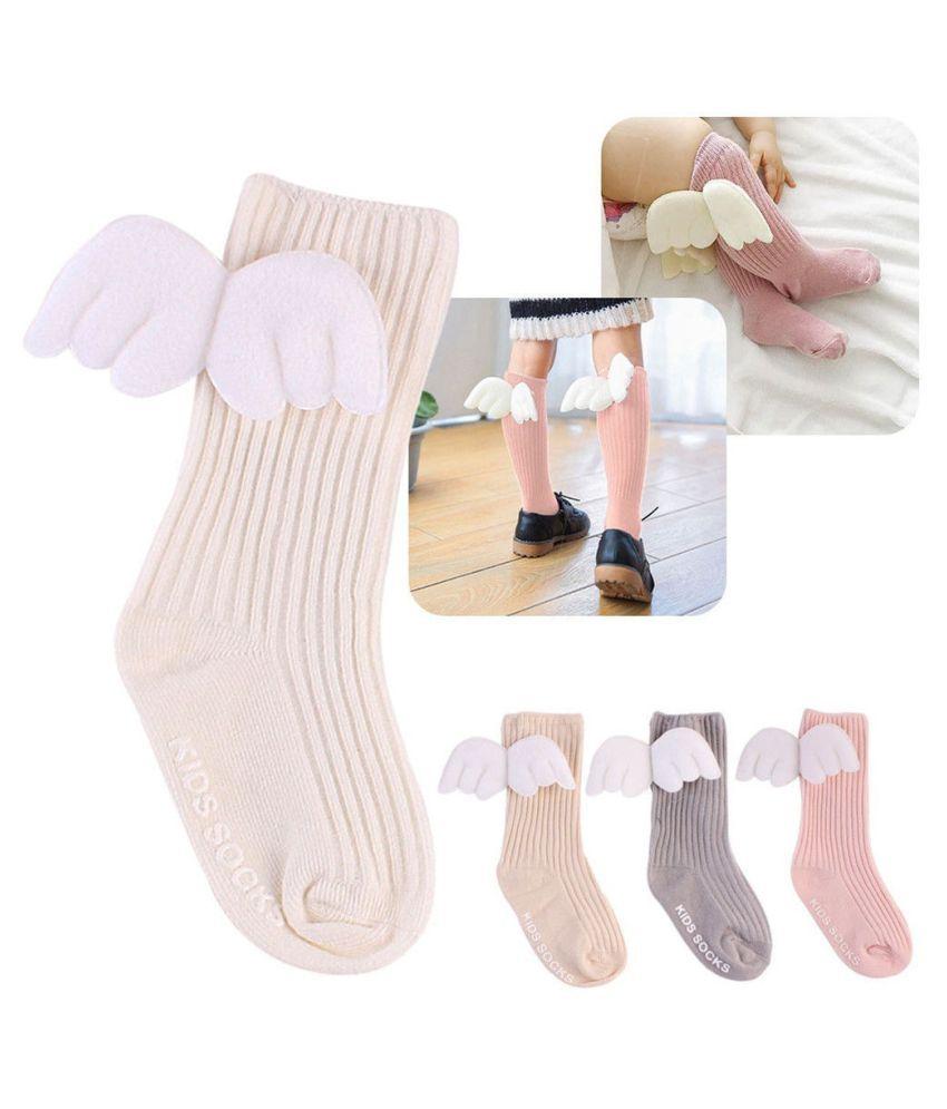 0-4T Warm Toddler Baby Kids Girl 1Pair Angel Wings Socks Stockings Knee Tight