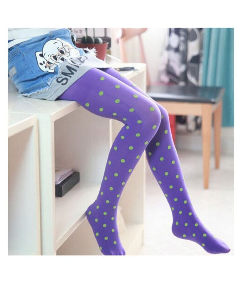 1 Pair New Cute Kawaii Lovely Child Girls Kids Footed Heart Dots Tights Stockings Ballet Solid Candy Colors Tights