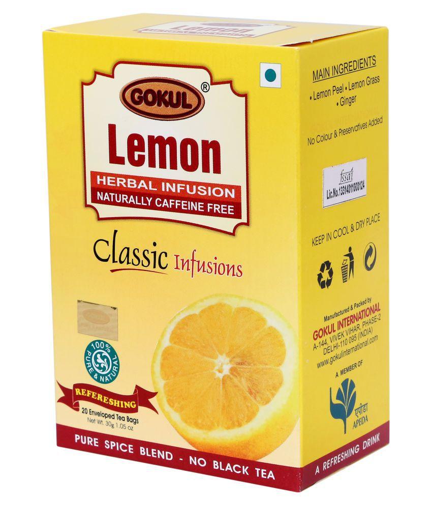 Gokul Lemon Tea Lemongrass Tea Bags 30 gm Pack of 3