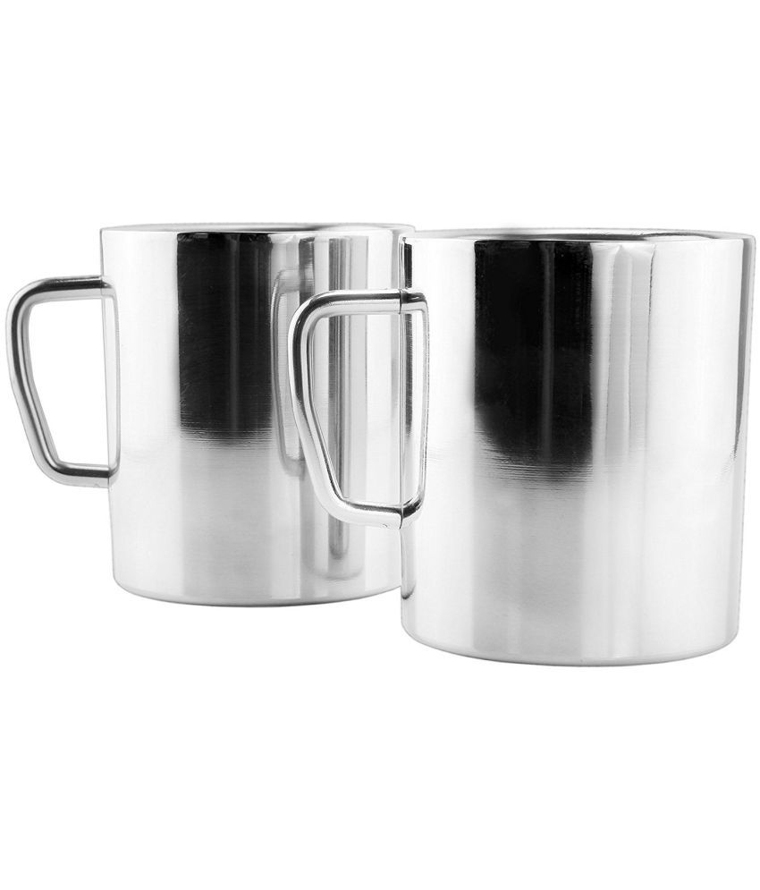 Kc Stainless Steel Double Walled Coffee Mugs Set Of 2