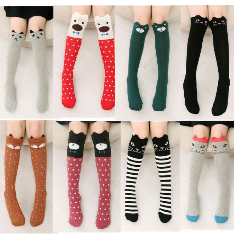New style 3 to 12 years old Girl Cartoon Stockings Warmth in autumn and winter Kids Soft Knee socks(10 colors)