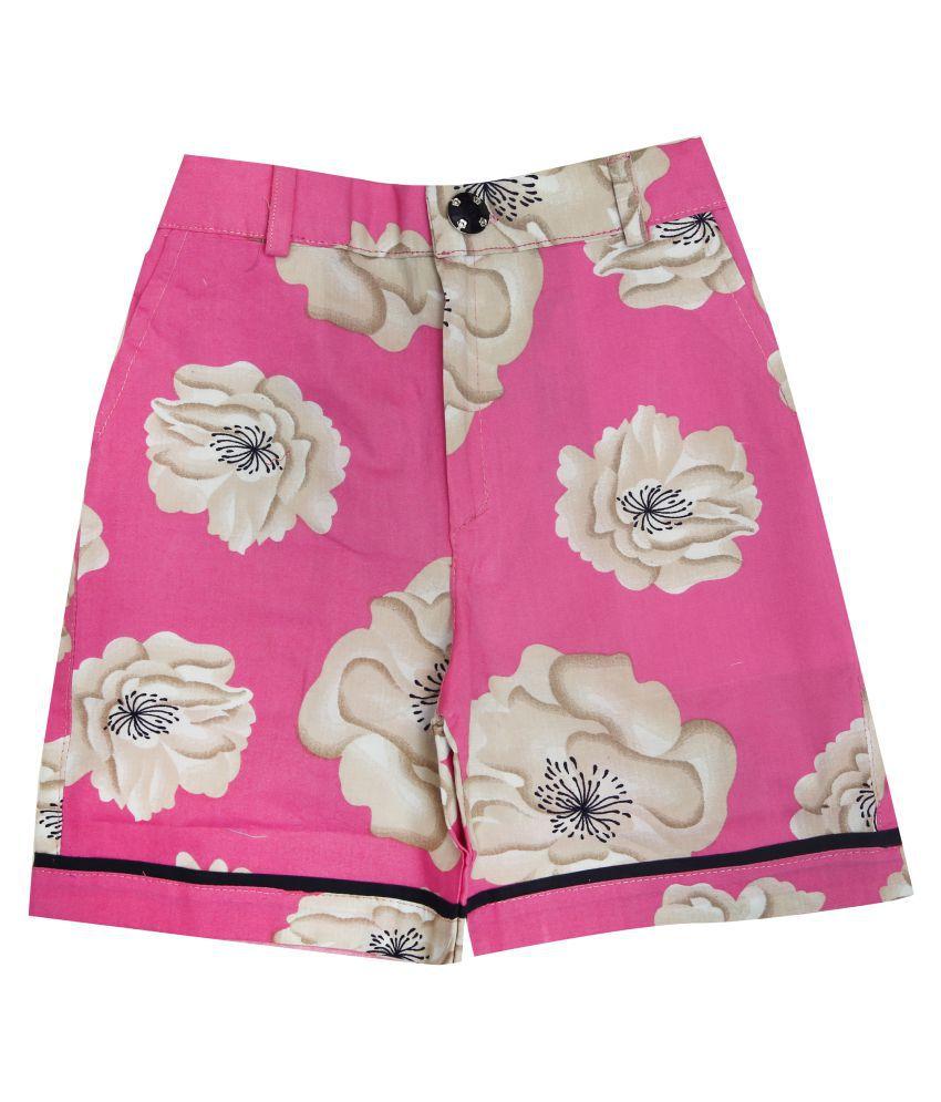 Zadmus Girls Cotton Printed HotPant (Pink,3 - 4 Years)