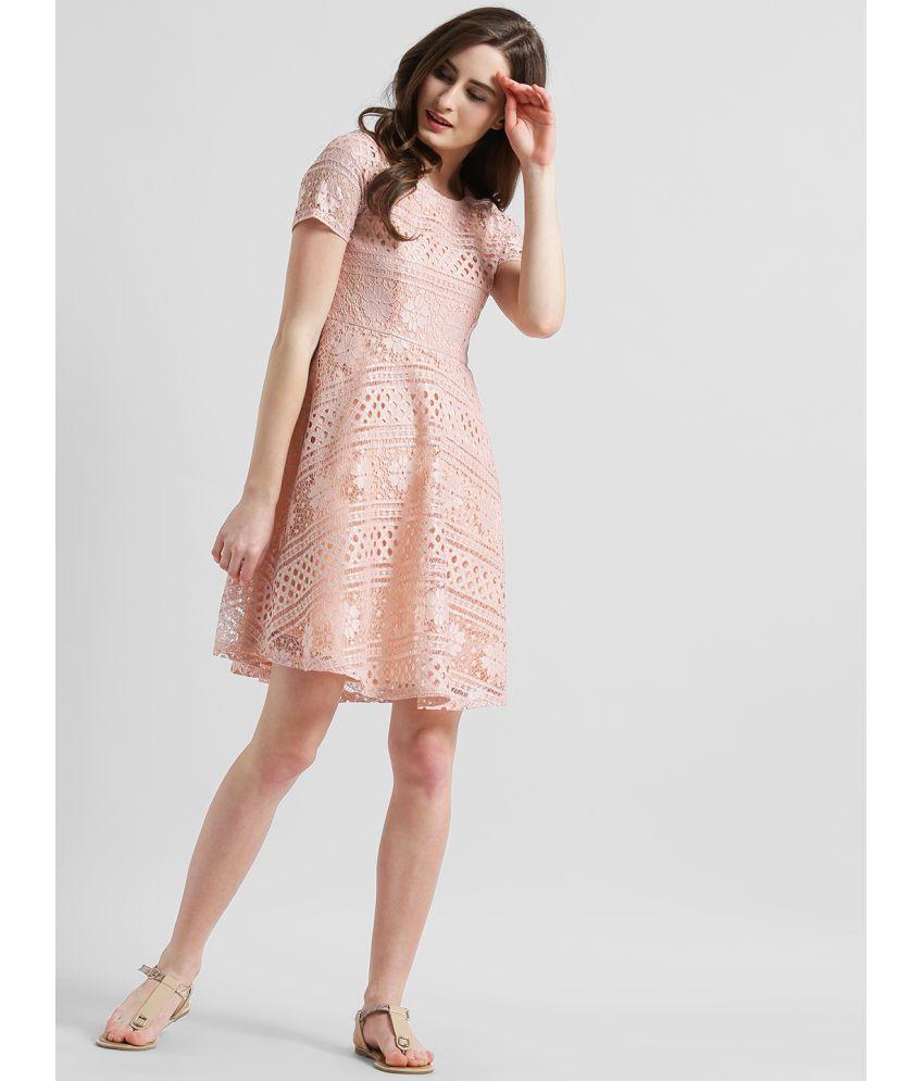 Zink London Polyester Peach A- line Dress