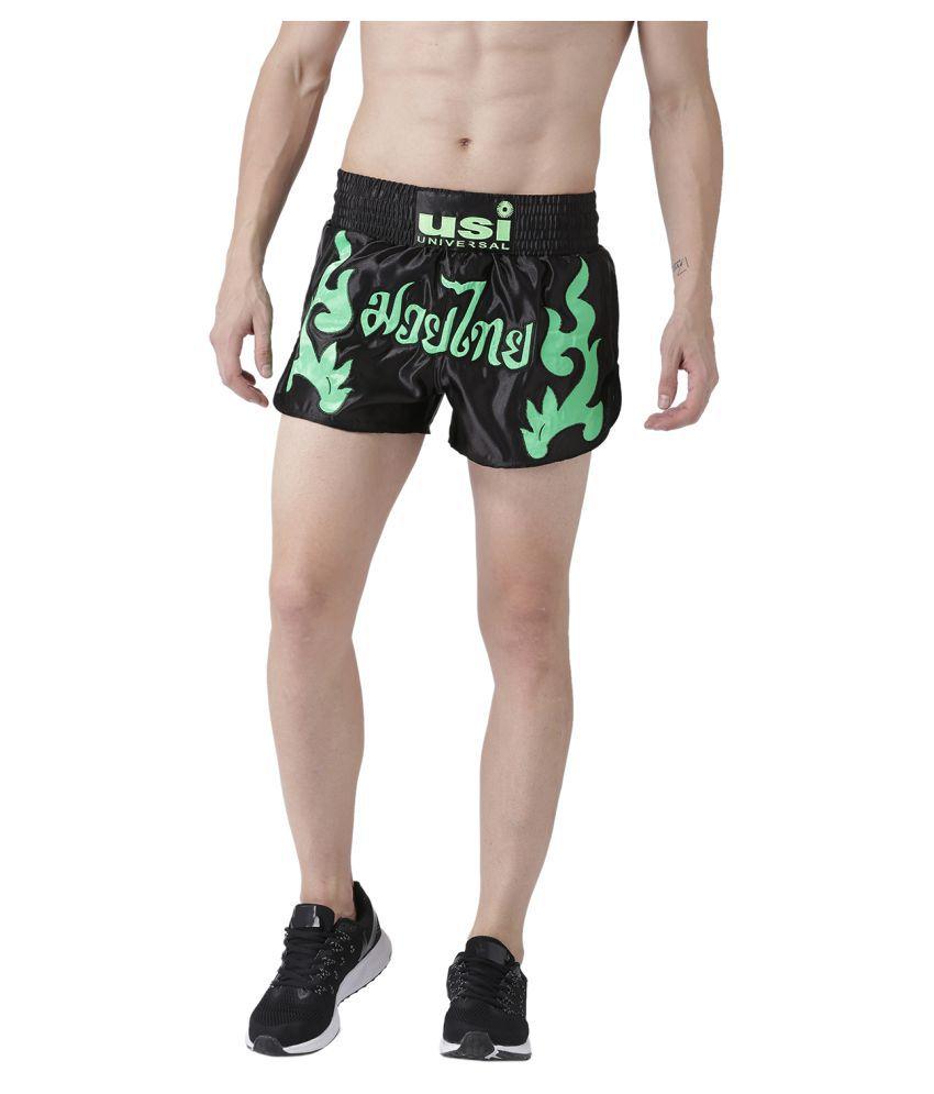 USI UNIVERSAL Black And Green Coloured Mens Shorts